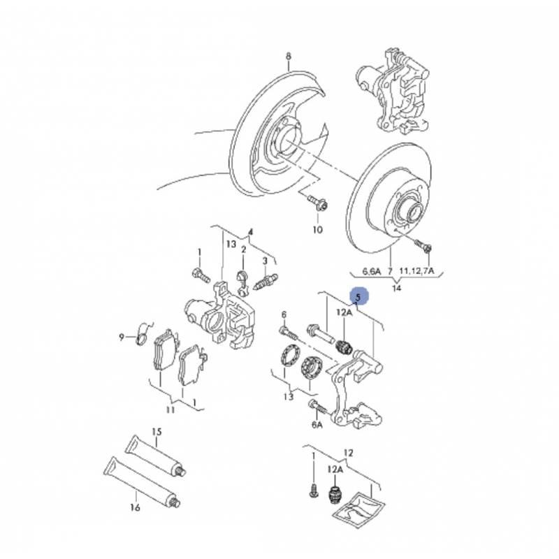 Chape, plateau de frein avec pivot de guidage, support d