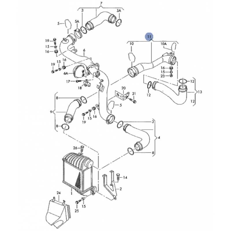 Durite, tuyau de pression pour 1l9 tdi 130 cv ref 1j0145762bd