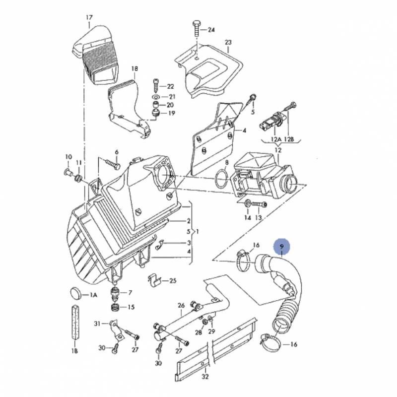 Durite / Flexible d'admission pour Audi A4 ref 8E0129615J