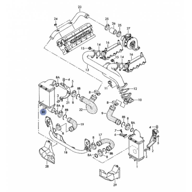 Radiateur d'air de suralimentation intercooler turbo 1L9
