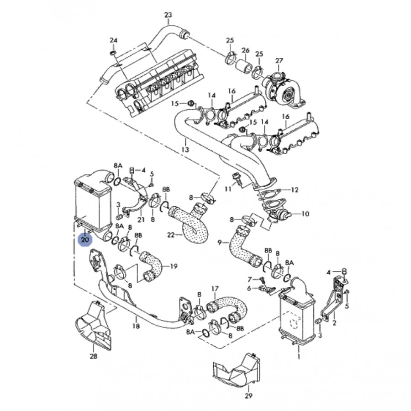 Radiateur d'air de suralimentation intercooler turbo pour