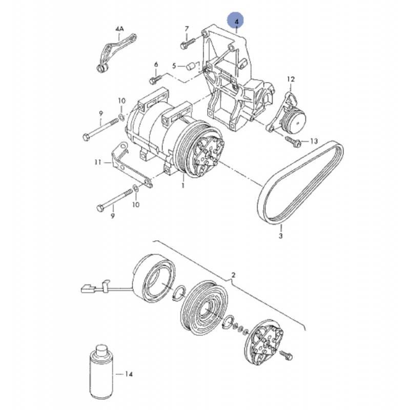 Support compact / pour alternateur / compresseur de clim