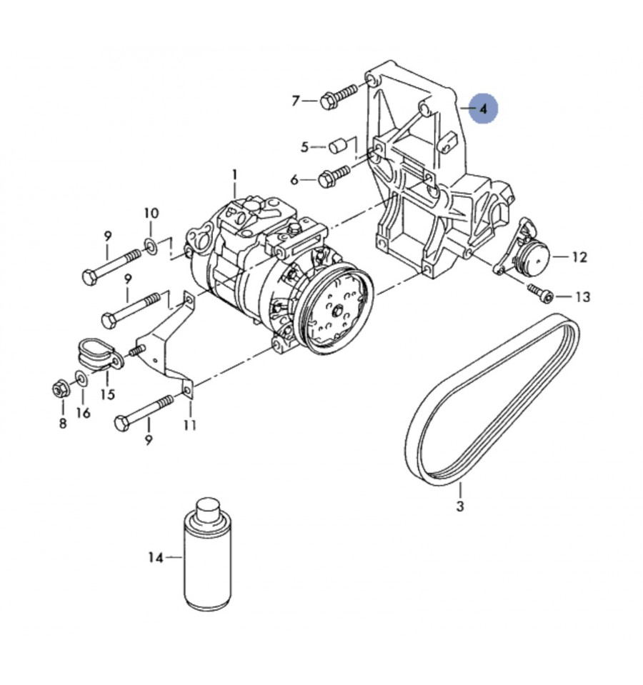 Compact support for alternator and air conditioning