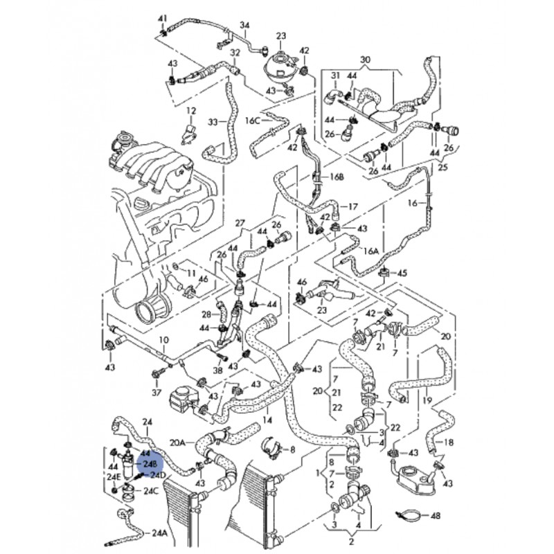 Cooler additional pump for audi, seat, vw, skoda ref