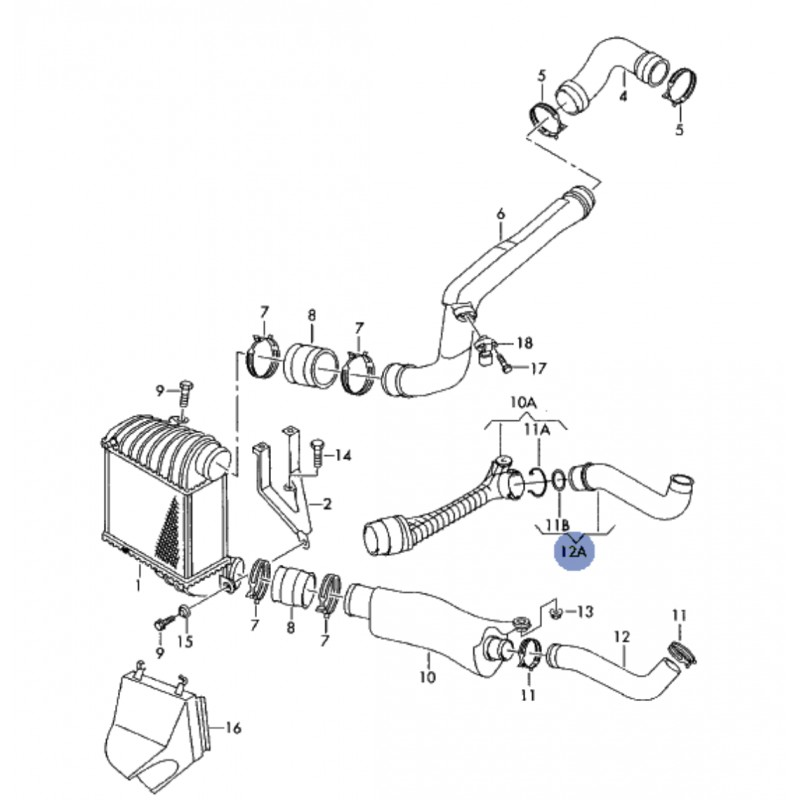 Hose, hose junction for 1l9 tdi ref 1j0145828e