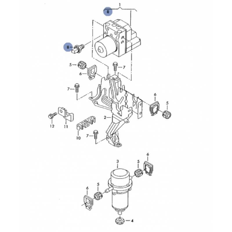 Capteur de pression de bloc abs pour Audi / Seat / VW