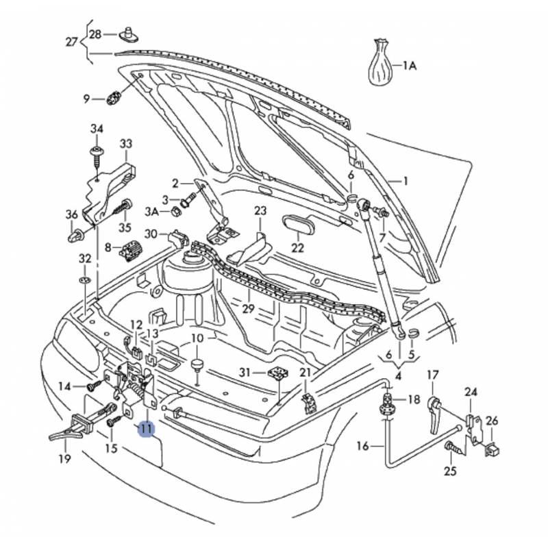 Serrure de capot avec contacteur pour VW Golf 4 / Bora ref