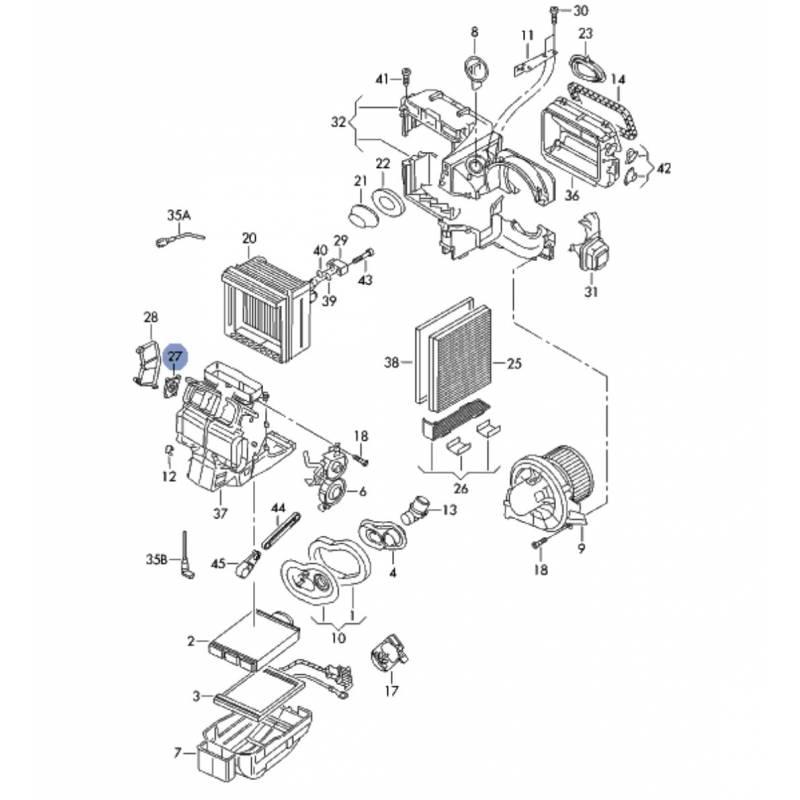 Servomotor of temperature control flap for vw, seat, skoda