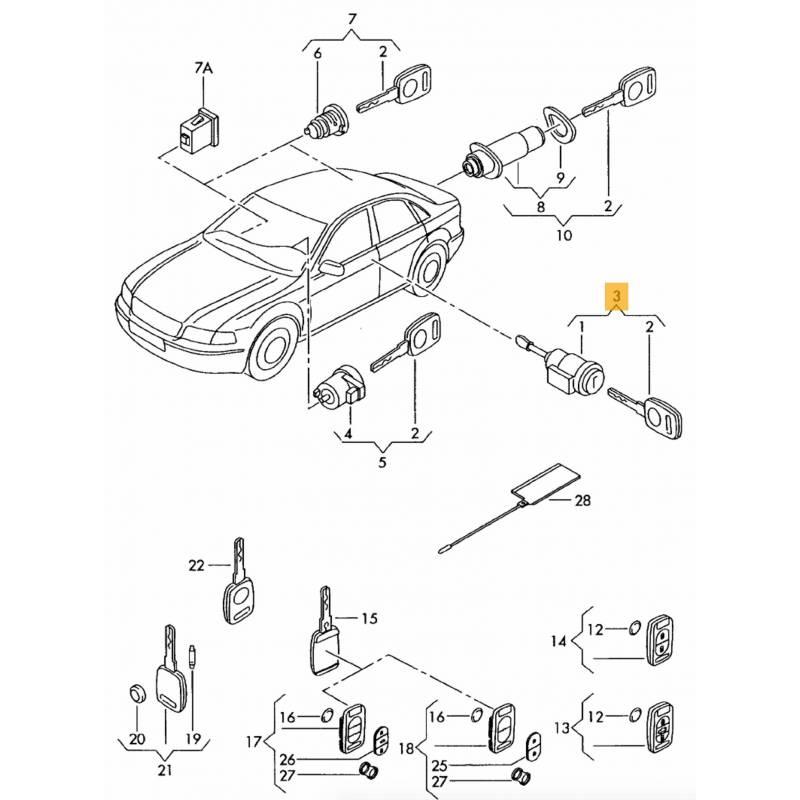 Serrure barillet de porte avant conducteur pour Audi A3 8P