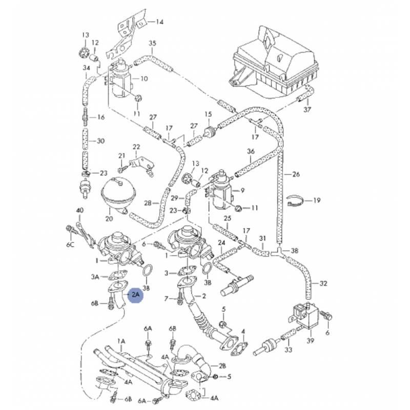 Durite, tuyau de liaison pour 1l9 tdi ref 038131521f