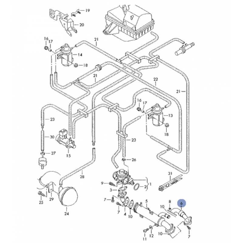 Durite, tuyau de liaison pour 1l9 tdi ref 038131521ba
