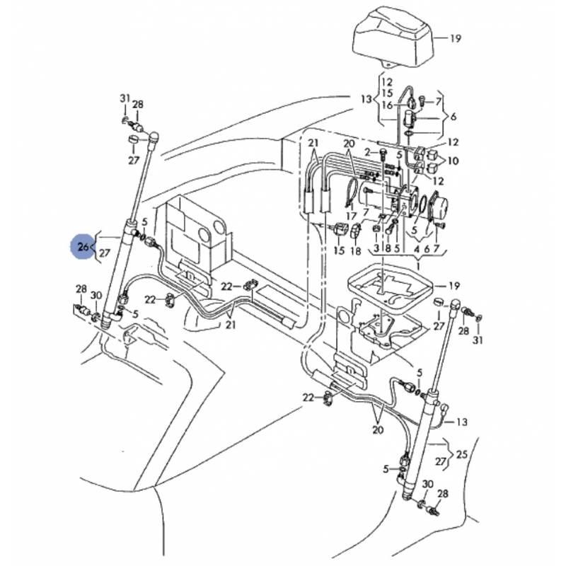Hydraulic jack of hood passenger side for audi tt