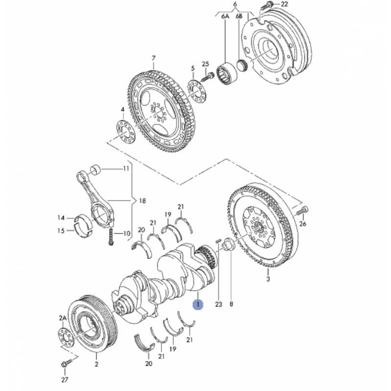 Crankshaft for audi a4, a5, a6 2l7 v6 tdi ref 059105101aj