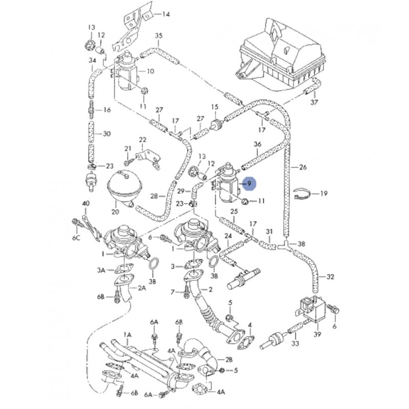 Transducteur de pression 1L9 TDI 1H0906627 / Ref Pierburg