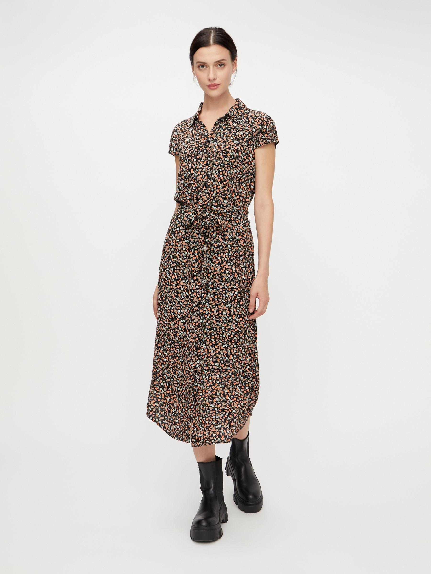 Printed midi shirt dress   Pieces