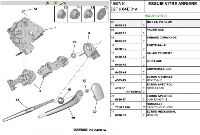 changer essuie-glaces Peugeot 607