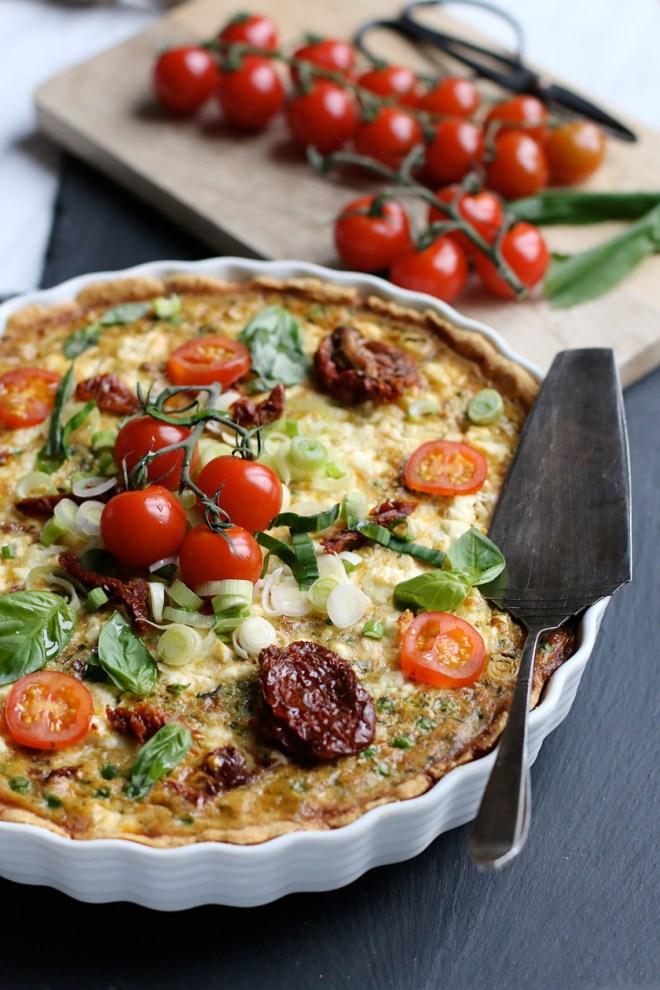 Quiche mit getrockneten Tomaten und Bärlauch