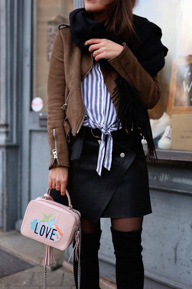 Erste Frühlingslieblinge mit Laurèl Box Bag und Streifen Volantbluse