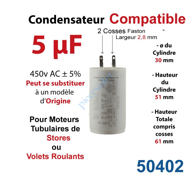 Italfarad 50402 Condensateur Compatible Pour Moteur Tubulaire De Store Ou Volet Roulant A Cosses Faston 2 8 Mm Capacite 5µf 5