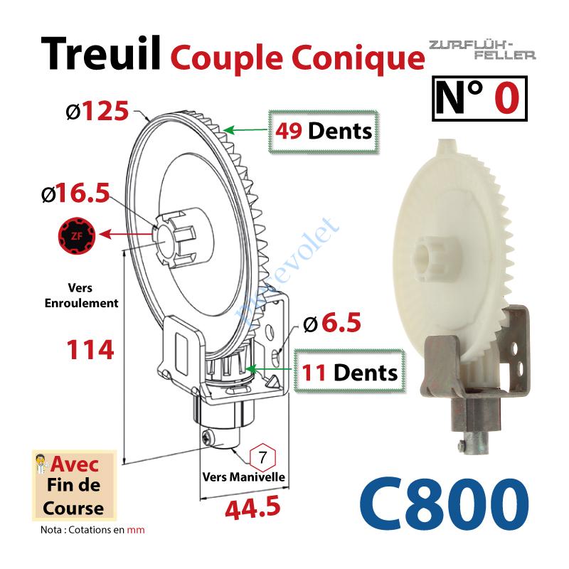 Zurfluh Feller C800 Treuil Couple Conique N 0 Entree Hexa 7 Femelle Sortie Crabot Zf Male Avec Fdc