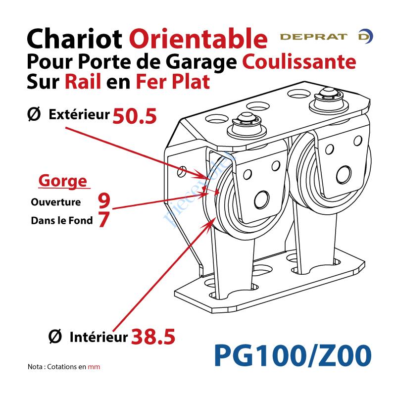 deprat jean pg100 z00 chariot orientable pour porte de garage coulissante sur rail en fer plat