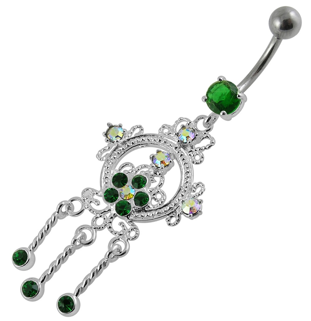 Best Prices for Fancy Moving Jeweled Navel Belly Ring-PBM047