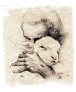 Jesus snuggling a lamb