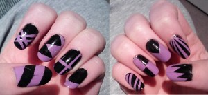 Purple black geometric fingernails
