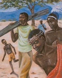 Simon helps Jesus carry his Cross