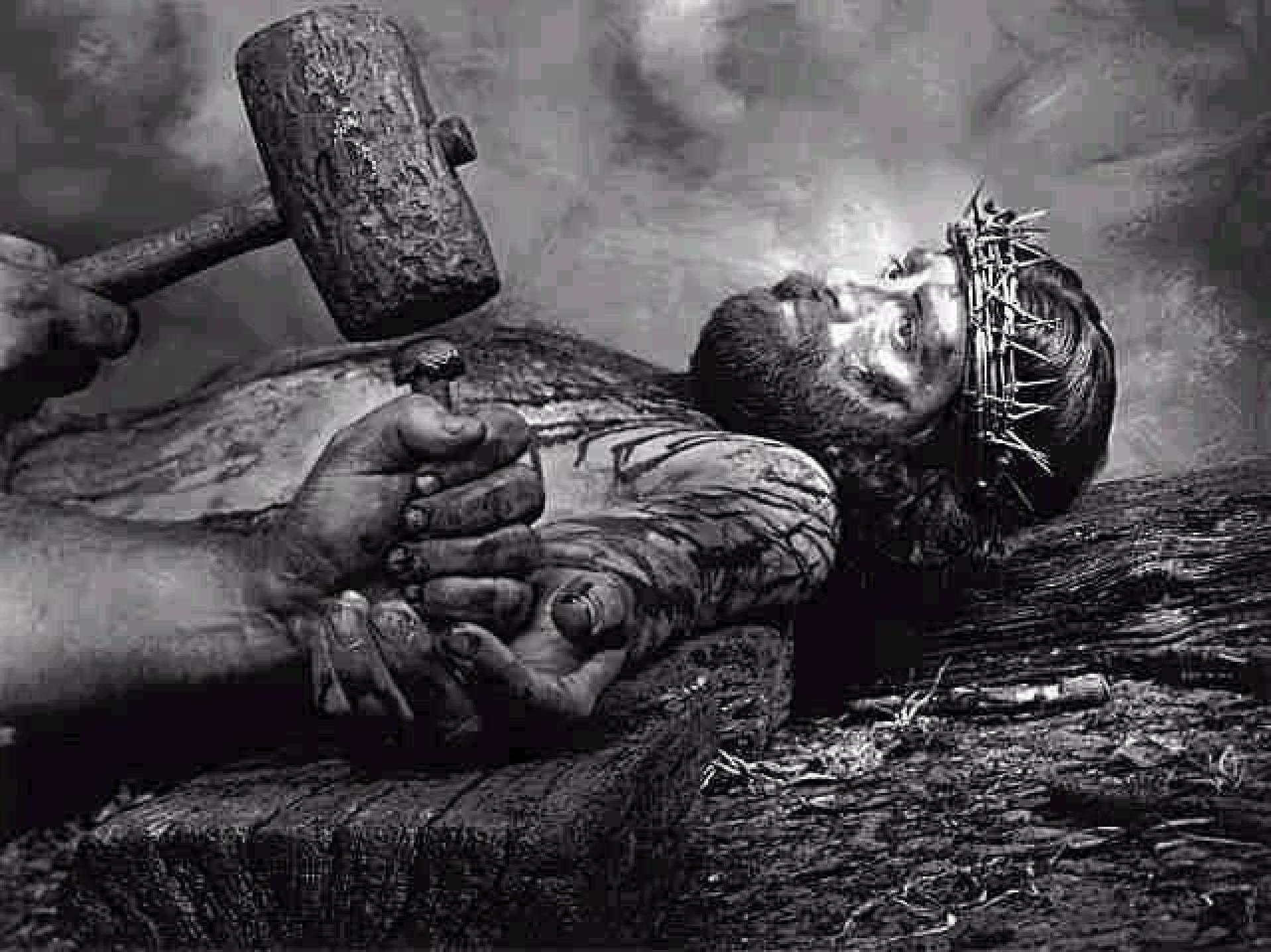 stations of the cross held by his pierced handsheld by his