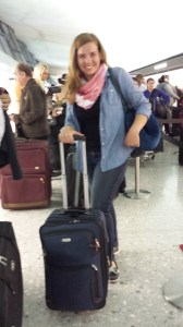 A blurry picture of me setting out in DC. I'm really proud of fitting 6 weeks worth of winter clothes into a carry-on suitcase.