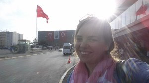 Peaceful enough to stop and take some selfies with Turkish flags in the background.