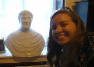 Me with a bust of John Henry Newman. At his house. In the room where he was received into the Church. Across from the desk where he wrote his Essay on the Development of Christian Doctrine.