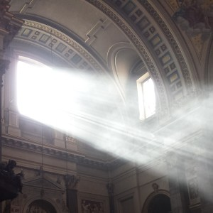 Sunlight through a church window
