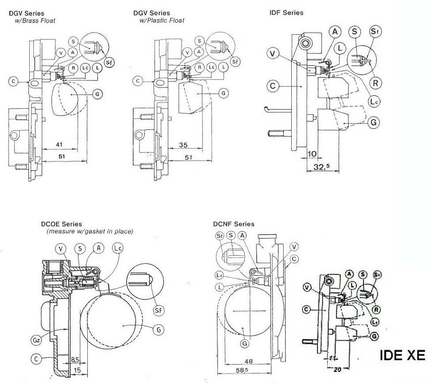 DGV/IDF/DCOE/DCNF/IDE-XE Float Leveling Instructions