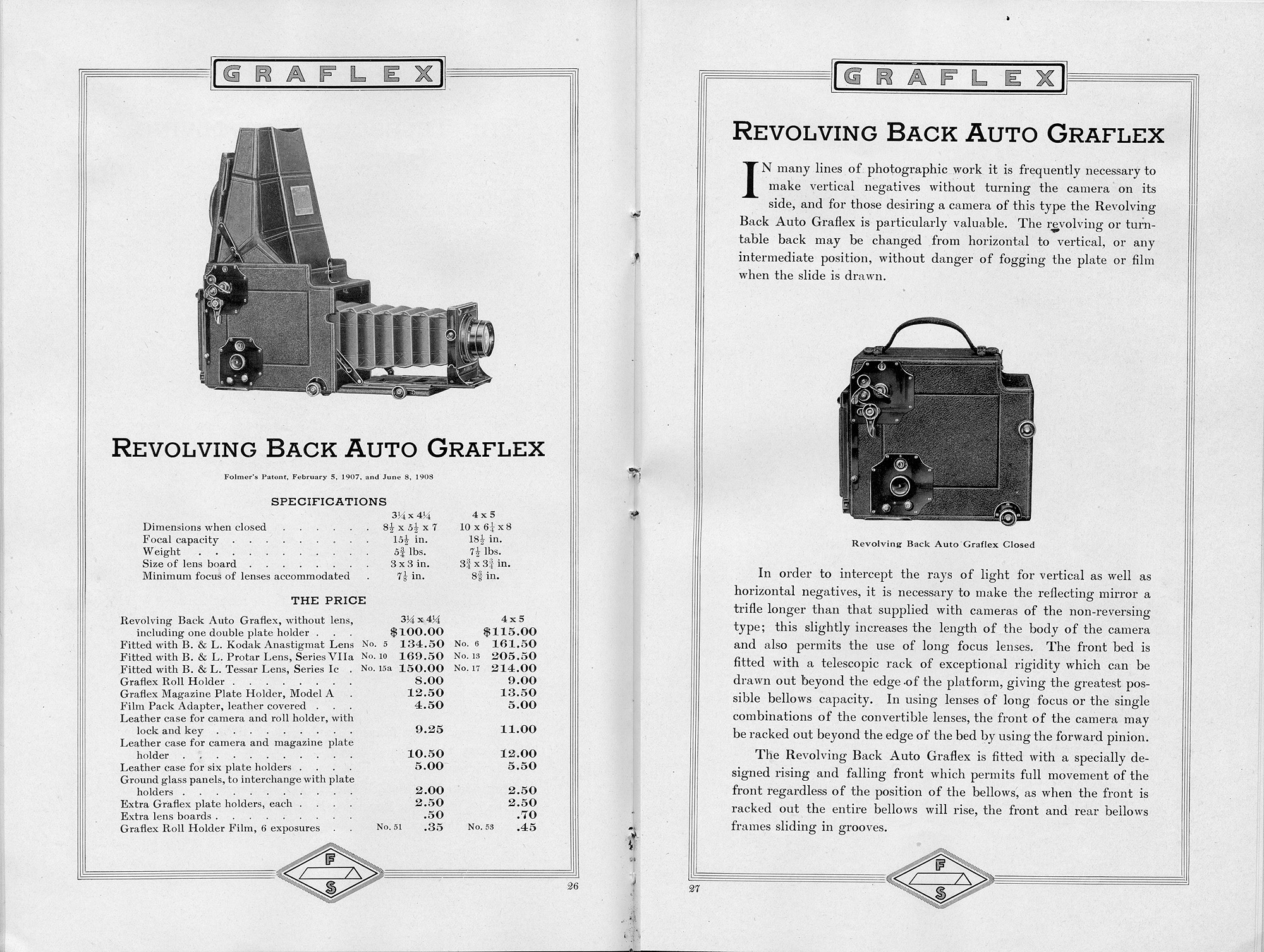 Graflex and Graphic Cameras, Folmer & Schwing Department