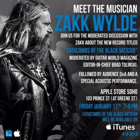 Poster - Zakk Wylde at Apple Store - 2014