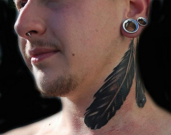 Native American Feather Tattoo Behind Ear