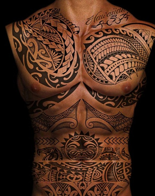 Polynesian Tribal Tattoo Chest