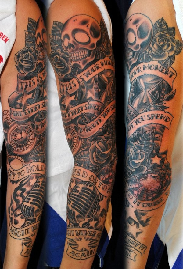 Half Sleeve Skull Arm Tattoos