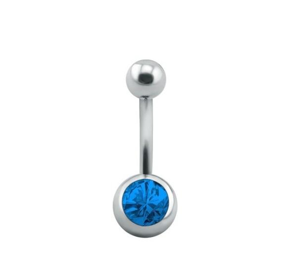 Taşlı Göbek Piercing Buz Mavi