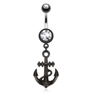 Fashion Göbek Piercing Black Anchor