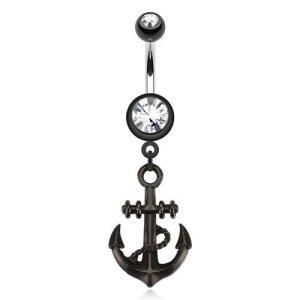 Fashion Göbek Piercing Black Anchor