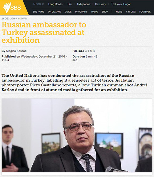 Russian ambassador to Turkey assassinated at exhibition