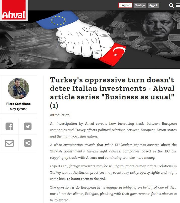 Turkey's oppressive turn doesn't deter Italian investments