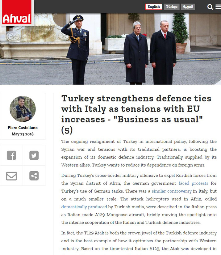 Turkey strengthens defense ties with Italy as tensions with EU increase