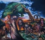 I guardiani della Soglia, 1985 olio su tela, cm 200x 200 collezione privata