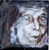 Il volto in una foglia, 2000 Sanguigna e tempera con lumeggiature di biacca su cartone preparato, cm 26x26 collezione dell'autore
