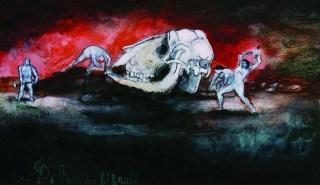 L'Era dei Giganti, 1997 acrilico su cartone, cm 12 x 8 cm collezione privata