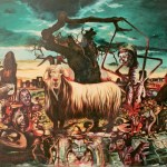 Il Caprone (nelle spire di Chtulu), 1987 (particolare e intero) olio su tela, cm 250x200 collezione privata